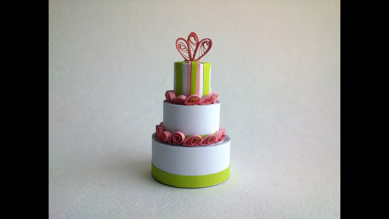 Quilling tutorial 3d quilling miniature cake 3d diy for How to make a paper design