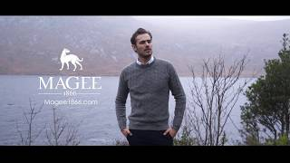 Magee 1866 - Turner's Vision Collection - Grey Mullans Lambswool Cable Crew Neck Jumper