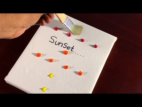 SUNSET / Abstract Landscape Painting Demo / Easy Technique / Relaxing / #86