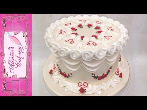 beautiful-one-tier-anniversary-cake.-lambeth-style!