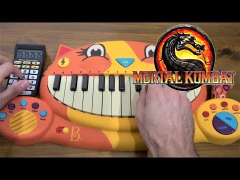 MORTAL KOMBAT THEME SONG ON A CAT PIANO AND A DRUM CALCULATOR