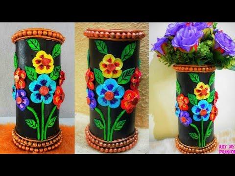Flower Pot With Cardboard Flower Vase Decoration Ideas Paper Flower Vase Artmypassion Youtube