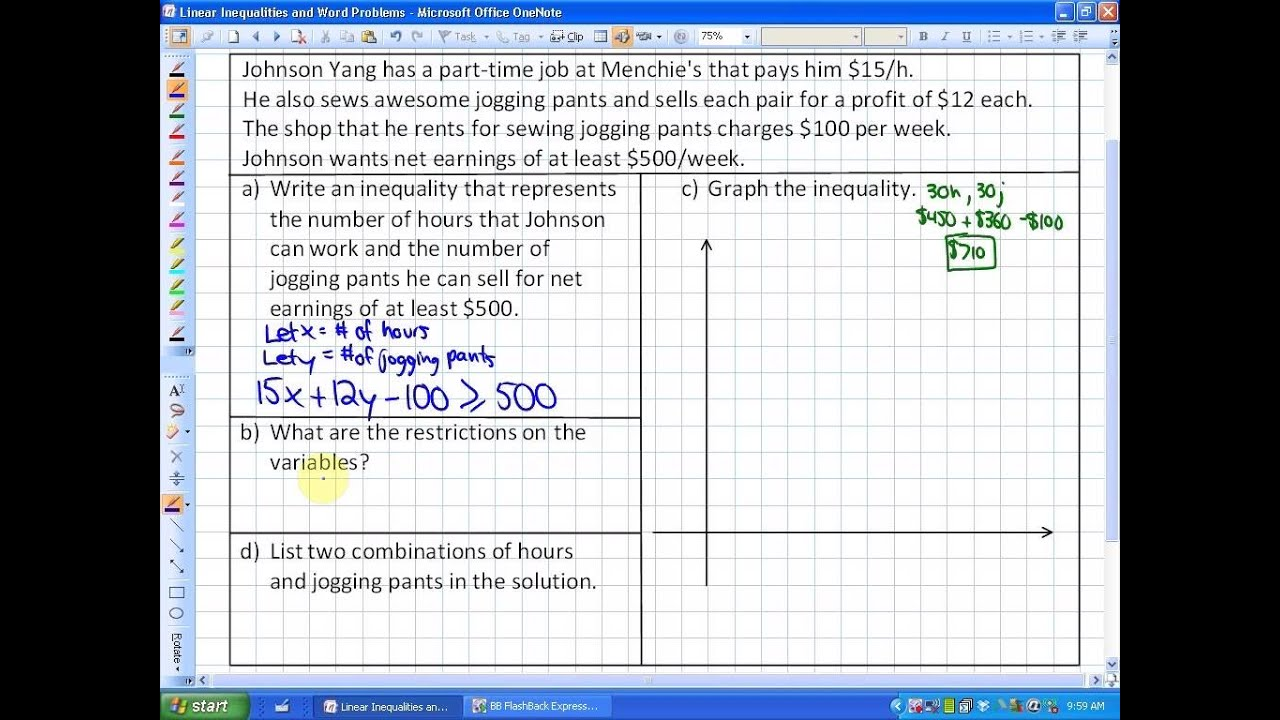 9 1 Lesson 2 Linear Inequalities And Word Problems