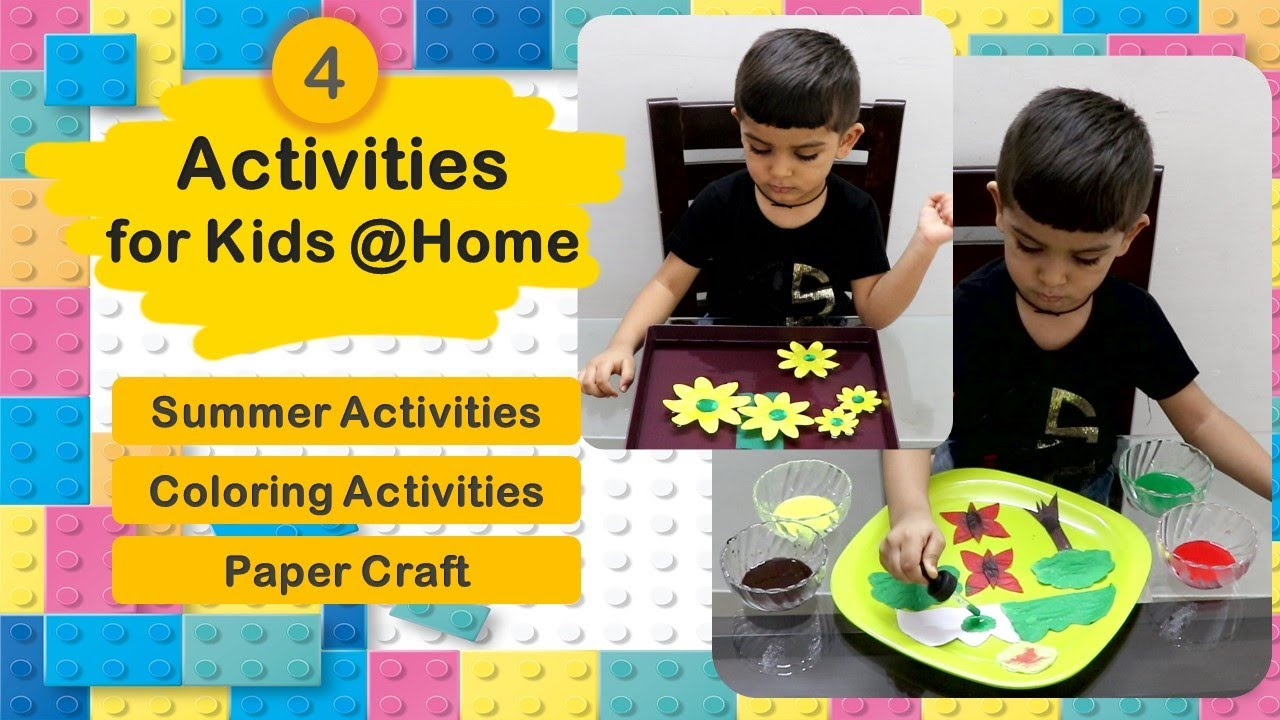 4 Activities for kids at home | Summer Activities | Indoor Activities | Craft and Colouring for Kids