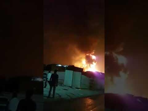 braking news.fire in bahrain hamad town,,,