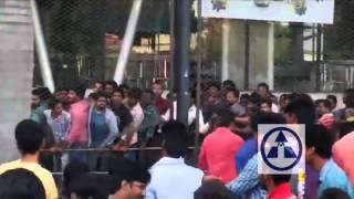 Fans Hud Hud at Prasads Imax for Baahubali Tickets Booking