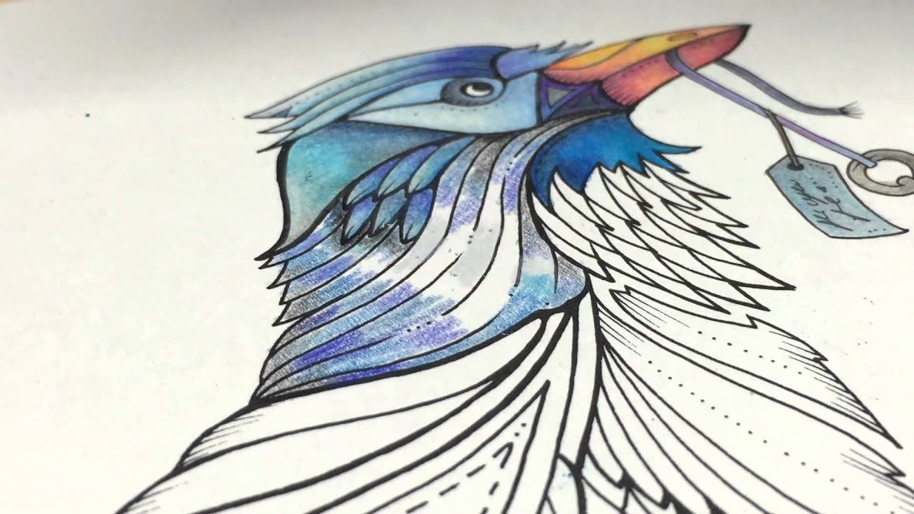 Asmr Adult Coloring Enchanted Forest Blue Bird 4