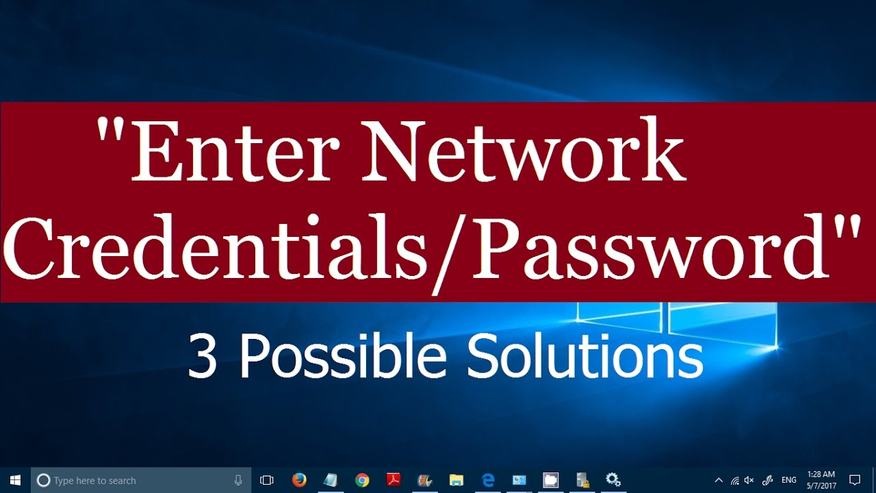 Disable ENTER NETWORK CREDENTIALS on Network Connections
