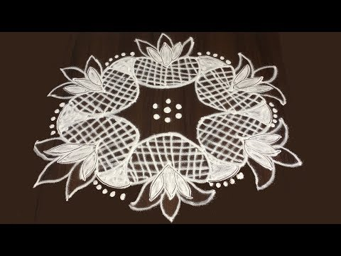 SIMPLE FLOWERS KOLAM DESIGNS WITH 7 TO 4 | MODERN ART RANGOLI DESIGNS