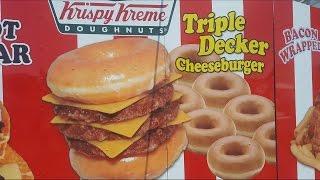 Krispy Kreme Triple Decker Cheeseburger Review - OC Fair 2016