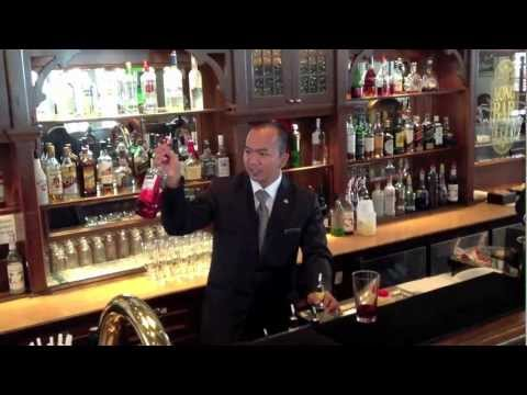 Making of Singapore Sling, Long Bar Raffles Hotel Singapore
