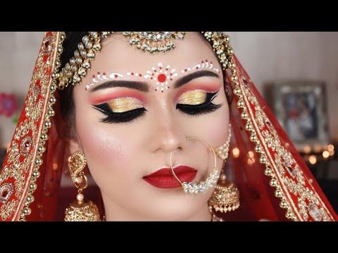 Indian BENGALI Bridal Makeup Double Cut Crease Double Eyeliner BINDI Design Hindi Tutorial thumbnail