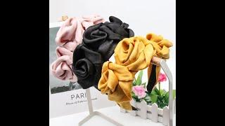 Повязка для волос с бантом женская шифоновый цветок розы повязки на голову широкие боковые невесты