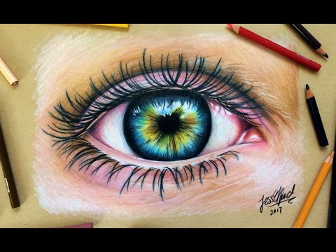 SPEED DRAWING: Realistic Eye with coloured pencils - YouTube