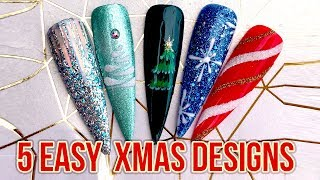 5 Easy Christmas Nail Art Designs   Perfect For Salon Style Accent Nails   Quick Festive Beauty Tips