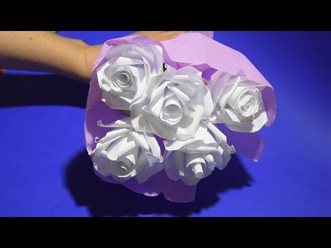 Gift for Mom, for Girlfriend ❀ Bouquet of Roses Flower of Paper Tutorial