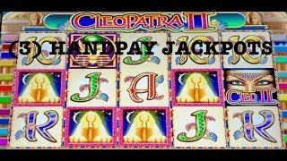 BACK TO BACK BONUS ROUNDS ON CLEOPATRA 2  (3) HANDPAYS SLOT MACHINE MOHEGAN SUN CLEO 2