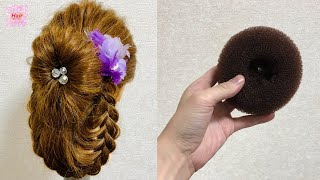 Donut Braid Wedding Bun Hairstyle Updo🌸Tutorial 【簡単 編み込みドーナツ】डोनट बाल