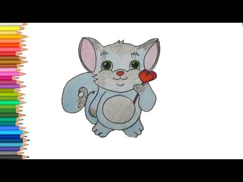Как нарисовать котика на день Святого Валентина