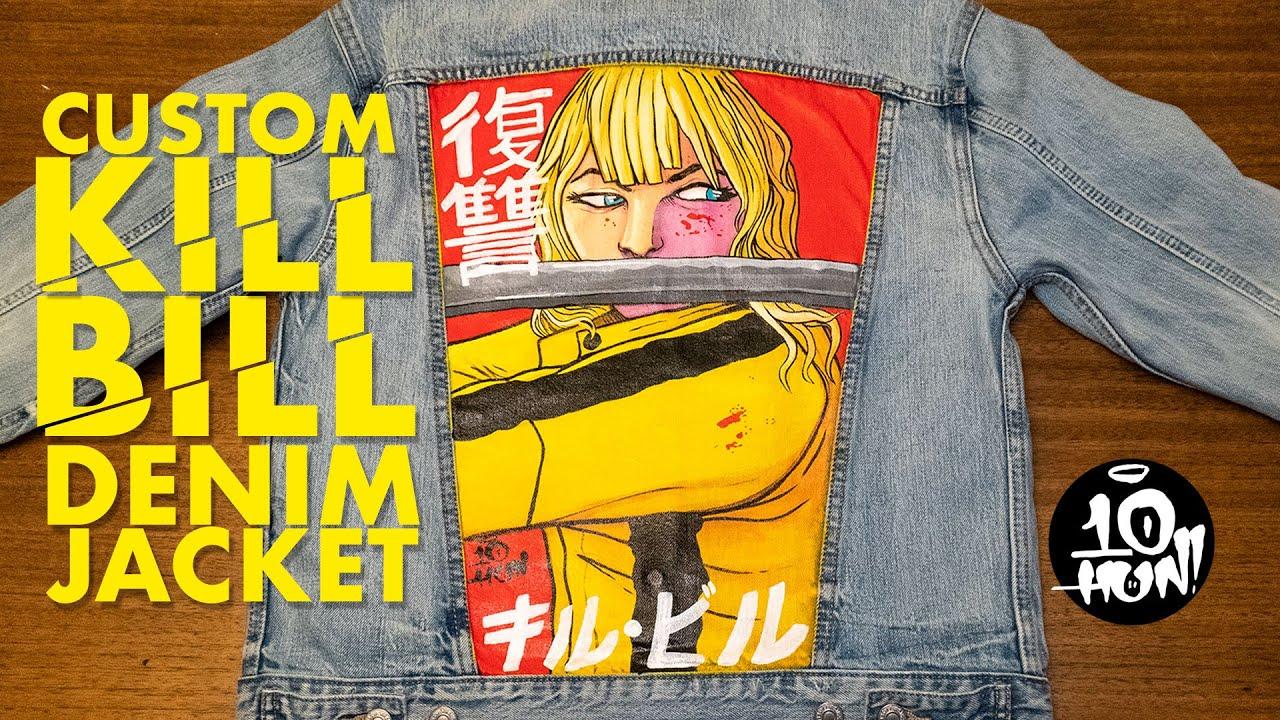 dbade5ea815ffa Custom Kill Bill Denim Jacket - Hand Painted using GAC 900 - YouTube
