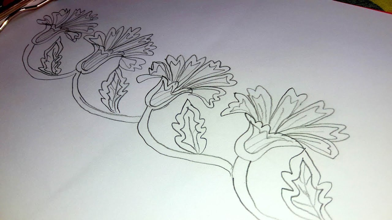 How To Draw Simple Border Design For Saree Border