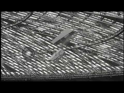 The Houston Astros practice at their new Astrodome baseball stadium, covered with...HD Stock Footage