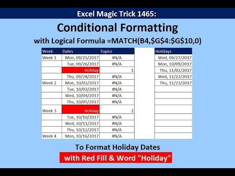 Excel Magic Trick 1465: Conditional Formatting Holiday Dates With Red Fill & Word