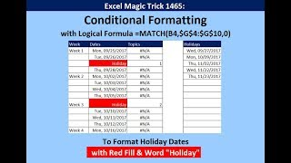 """Excel Magic Trick 1465: Conditional Formatting Holiday Dates with Red Fill & Word """"Holiday"""""""