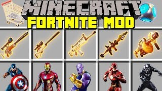 Minecraft FORTNITE BATTLE ROYALE MOD l LEGENDARY ITEMS, SUPERHERO SKINS, EMOTES! l Mini-jeu Modded