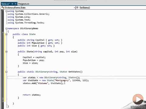Create a dictionary using collections in C#