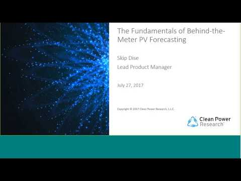 July Webinar: The Fundamentals of Behind the Meter BTM PV Forecasting