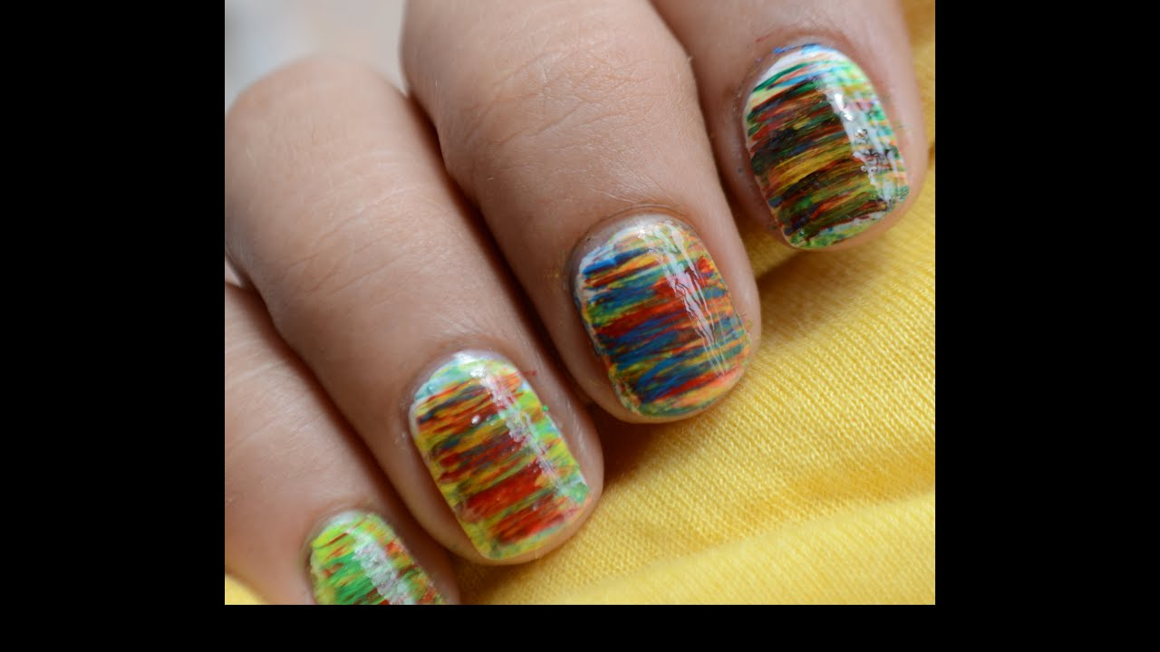 Nail Art Design Short Nails - With Cute Fan Brush Beginners