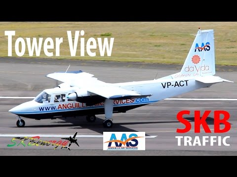 Tower View !!! Anguilla Air Services BN-2 Islander in action @ St. Kitts R.L.B Int'l Airport