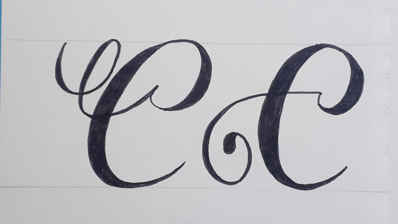 Calligraphy Handwriting Letter C In Cursive Design / How To Write Stylish  Alphabet For beginners