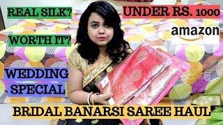 Bridal Banarasi sarees under Rs. 1000 | Banarasi sarees under Rs. 1000 | Amazon silk saree haul