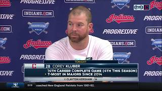 Corey Kluber cracks a smile after the Indians' walk-off win