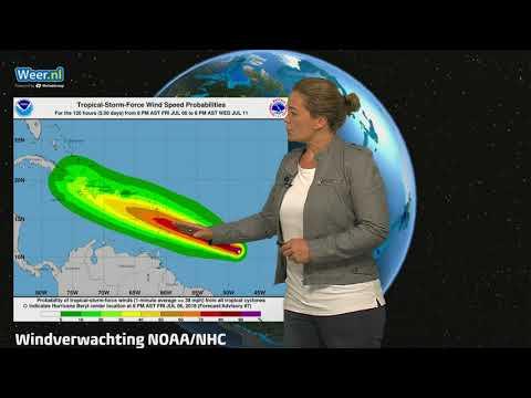 Orkaan Beryl richting de Cariben