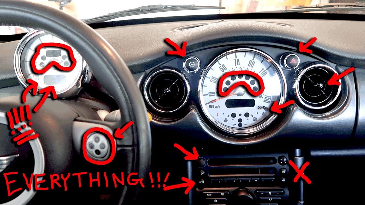hight resolution of mini cooper dashboard lights buttons switches explained r52 2007 model