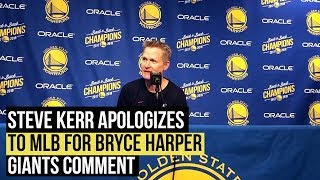 Steve Kerr apologizes to MLB for Bryce Harper comment, talks NBA tampering issues