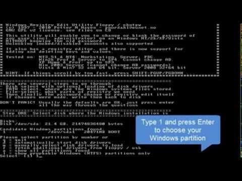 linux reset password windows 8