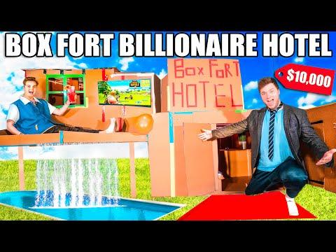 BOX FORT BILLIONAIRE HOTEL $10,000 ROOM CHALLENGE! Box Fort City Survival