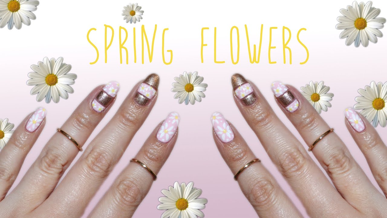 Spring Flowers Cut Out Nail Art Youtube