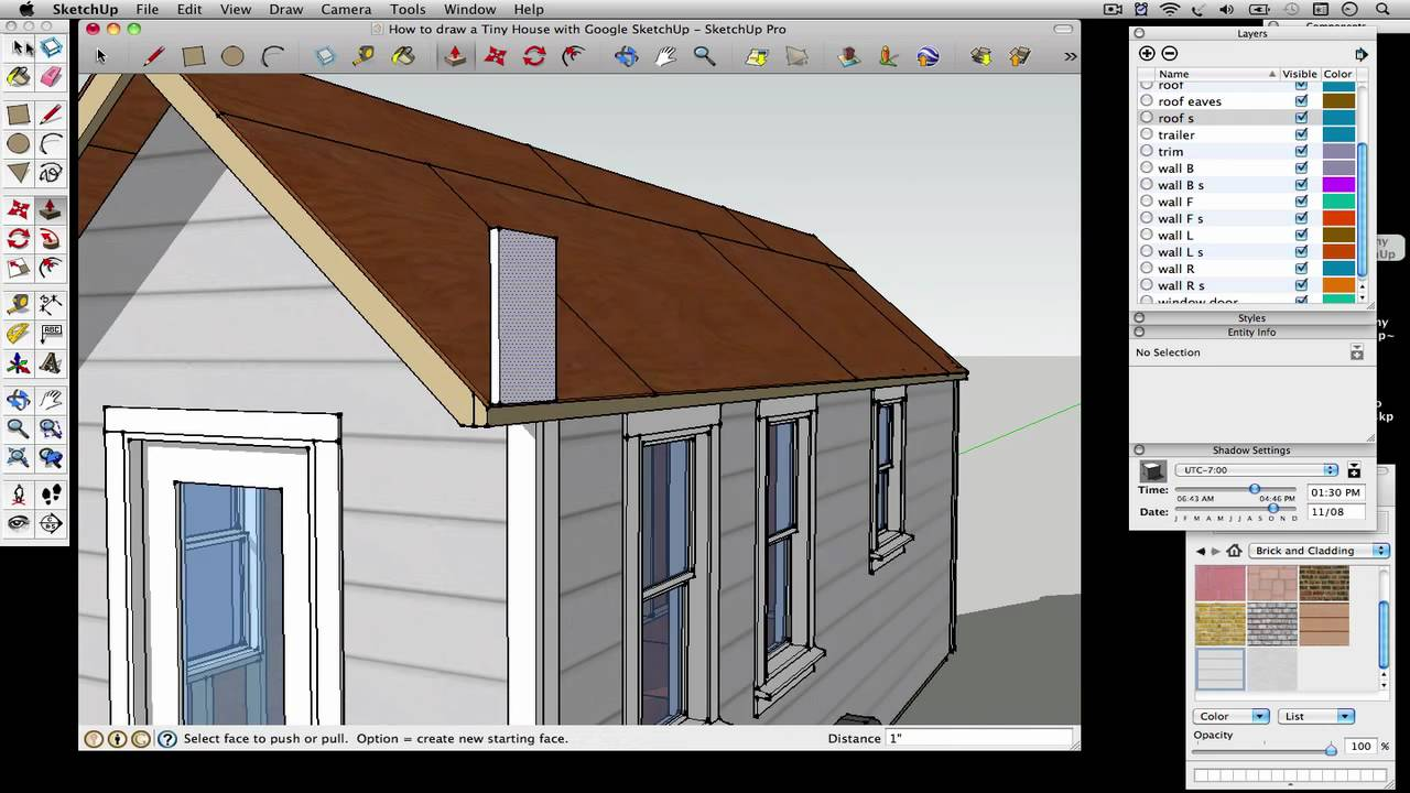 How to draw a gambrel roof in sketchup - How To Draw A Tiny House With Google Sketchup Part 5