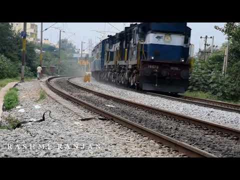 Closeup of shining RPM WAP 7 Bangalore Double Decker + Bonus +Close up of thumping WDM 3A Alco