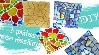 APRENDE EN 6 MINUTOS A DECORAR 3 PLATOS - RECICLAJE CREATIVO Y FALSO MOSAICO