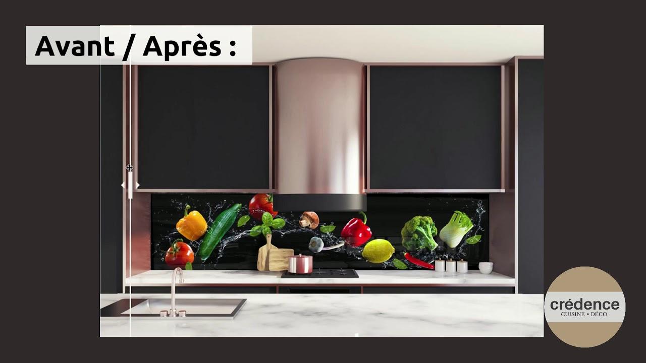 """Avant / Après Crédence de cuisine """"Légumes sur fond noir"""