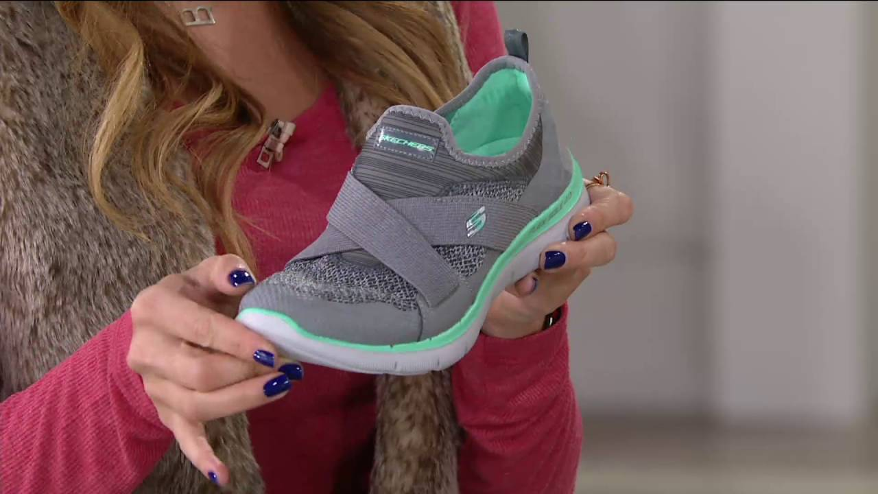 32a5a78cf1f9 Skechers Cross-Strap Slip-On Sneakers - New Image on QVC - YouTube