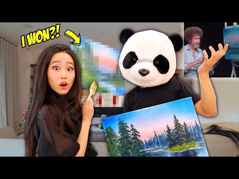 Following A Bob Ross Painting Tutorial *I FINALLY WON + HE MESSED UP