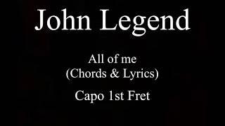 John Legend All of me chords and lyrics Guitar