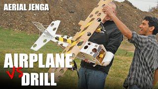 r c airplane vs drill aerial jenga   flite test